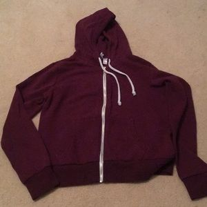 H&M basics Divided Maroon Zip Up Hoodie